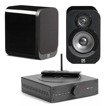 Elipson MC Mini + Q Acoustics 3010 Noir laqué Amplificateur stéréo 2 x 80 Watts Bluetooth aptX + Enceinte bibliothèque compacte (par paire)