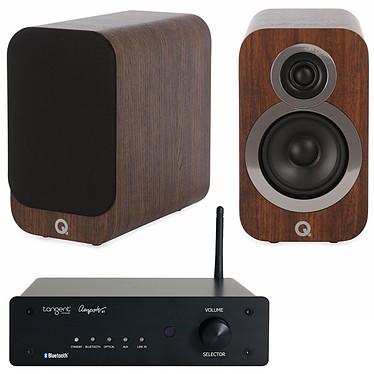 Tangent Ampster BT + Q Acoustics 3010i Noyer Amplificateur stéréo intégré 2 x 50 W Bluetooth + Enceinte bibliothèque compacte (par paire)