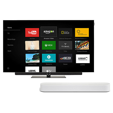 "Loewe Bild 3.55 OLED Gris Clair + SONOS Beam Blanc Téléviseur OLED Ultra HD 55"" (140 cm) 16/9 - 3840 x 2160 pixels - Ultra HD 2160p - HDR - Wi-Fi - Bluetooth (dalle native 100 Hz) + Barre de son compacte Wi-Fi, AirPlay, Ethernet avec Amazon Alexa"