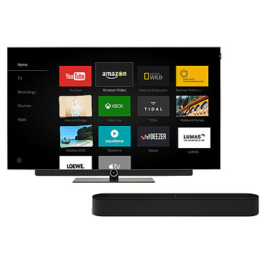 "Loewe Bild 3.55 OLED Gris Graphite + SONOS Beam Noir Téléviseur OLED Ultra HD 55"" (140 cm) 16/9 - 3840 x 2160 pixels - Ultra HD 2160p - HDR - Wi-Fi - Bluetooth (dalle native 100 Hz) + Barre de son compacte Wi-Fi, AirPlay, Ethernet avec Amazon Alexa"