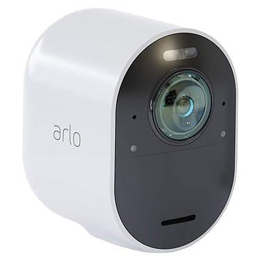 Arlo Ultra VMC5040 Caméra de sécurité 4K HDR sans fil intérieure/extérieure avec vision nocturne, angle 180°, zoom et projecteur compatible Google Assistant et Amazon Alexa