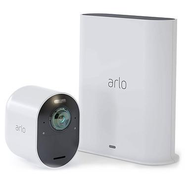 Arlo Ultra Pack 1 Smart Caméra Pack sécurité 1 caméra 4K HDR sans fil intérieure/extérieure avec vision nocturne, angle 180°, zoom et projecteur compatible Google Assistant et Amazon Alexa + Base SmartHub