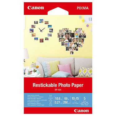 Canon RP-101 Autocollant Repositionnable  Papier photo autocollant repositionnable 10 x 15 cm (5 feuilles)