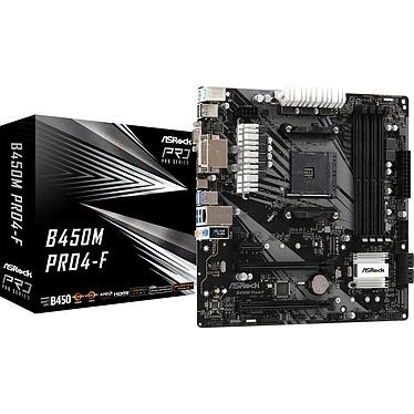 ASRock B450M-Pro 4-F Carte mère micro-ATX Socket AM4 AMD B450 - 4x DDR4 - SATA 6Gb/s + 2x M.2 - USB 3.0 - 1x PCI-Express 3.0 16x