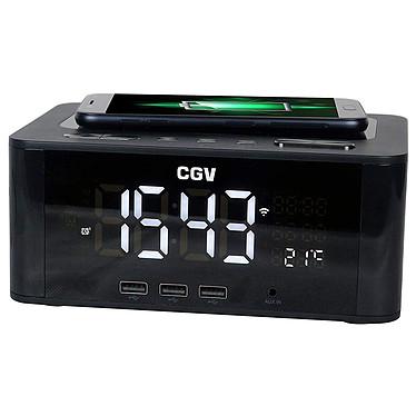 CGV CR Q-10 Radio-réveil FM avec Bluetooth, entrée AUX, 3 ports USB et chargeur sans fil par induction