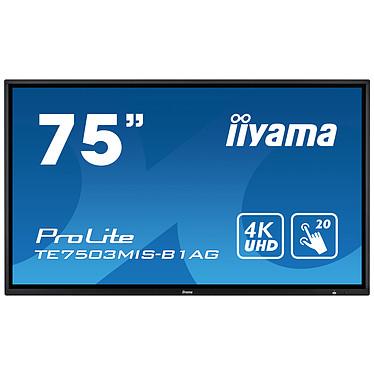 """iiyama 75"""" LED - ProLite TE7503MIS-B1AG Écran tactile multipoint 3840 x 2160 pixels 16:9 - IPS-AG - 1100:1 - 6 ms - 24/7 - HDMI - DisplayPort - Wi-Fi - Haut-parleur intégré - Noir"""
