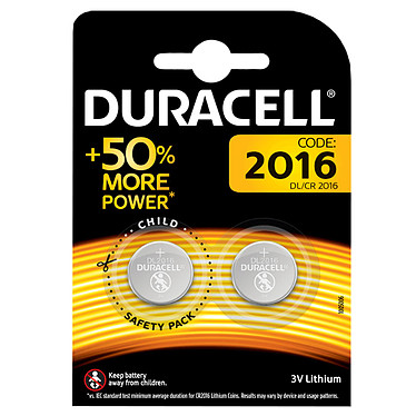 Duracell DL/CR2016 3V (par 2) Pack de 2 piles bouton DL/CR2016 Lithium 3V