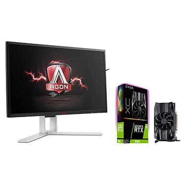 "AOC 23.8"" LED - AGON AG241QG G-SYNC + EVGA GeForce RTX 2060 XC GAMING 2560 x 1440 pixels - 1 ms (gris à gris) - Format large 16/9 - 165 Hz - G-SYNC - DisplayPort - HDMI - Pivot - Hub 3.0 + 6 Go GDDR6 - HDMI/DisplayPort/DVI - PCI Express (NVIDIA GeForce RTX 2060)"