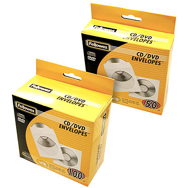 Fellowes 100 Enveloppes CD Papier Lot de 100 enveloppes blanches en papier pour CD/DVD