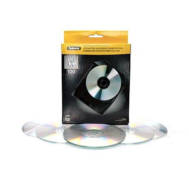 Fellowes 100 Enveloppes CD Plastique  Lot de 100 enveloppes blanches en plastique pour CD/DVD