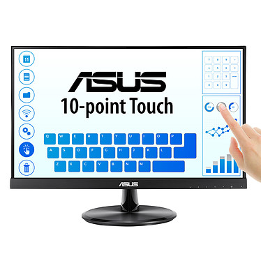 "ASUS 21.5"" LED Tactile - VT229H 1920 x 1080 pixels - Tactile 10 points de contact - Format large 16/9 - Dalle IPS - 5 ms (gris à gris) - HDMI - VGA - Noir"