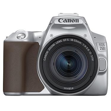 """Canon EOS 250D Argent + 18-55 IS STM Argent Reflex Numérique 24.1 MP - Ecran tactile orientable 3"""" - Viseur optique - Vidéo Ultra HD - Wi-Fi - Bluetooth + Objectif EF-S 18-55 mm f/4-5.6 IS STM"""