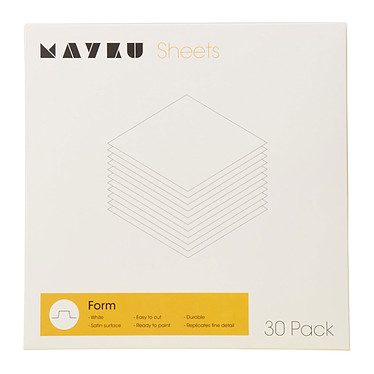 Mayku Form Sheets 30 Pack Pack de 30 Feuilles blanches 0,5 mm pour la fabrication d'emballage