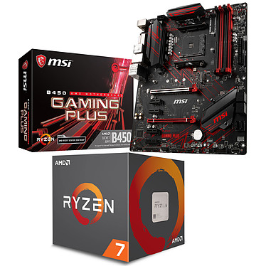 Kit Upgrade PC AMD Ryzen 7 2700 MSI B450 GAMING PLUS Carte mère ATX Socket AM4 AMD B450 + CPU AMD Ryzen 7 2700 Wraith Spire LED (3.2 GHz / 4.1 GHz)