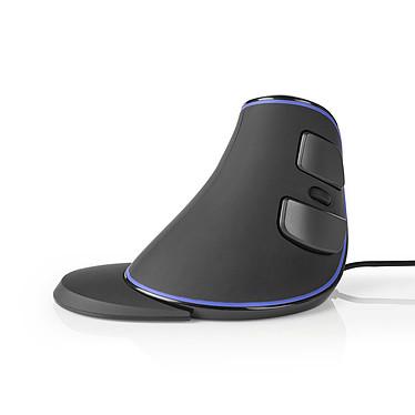 Nedis Wired Ergonomic Mouse Noir (ERGOMSWD200BK) Souris ergonomique filaire - capteur optique 1600 dpi - 6 boutons - USB