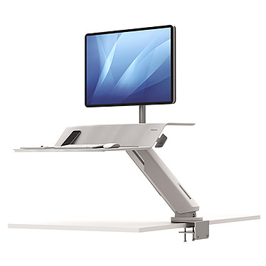 Fellowes Station de travail Assis-Debout Lotus RT Simple Blanc Station de travail avec bras simple pour 1 moniteur TFT/LCD jusqu'à 15.8 Kg - Blanc