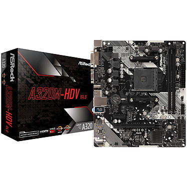 ASRock A320M-HDV R4.0 Carte mère Micro ATX Socket AM4 AMD A320 - 2x DDR4 - SATA 6Gb/s + Ultra M.2 - USB 3.0 - 1x PCI-Express 3.0 16x