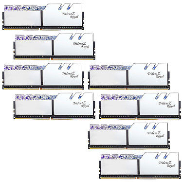 G.Skill Trident Z Royal 64 Go (8 x 8 Go) DDR4 3600 MHz CL16 - Argent Kit Quad Channel 8 barrettes de RAM DDR4 PC4-28800 - F4-3600C16Q2-64GTRS avec LED RGB