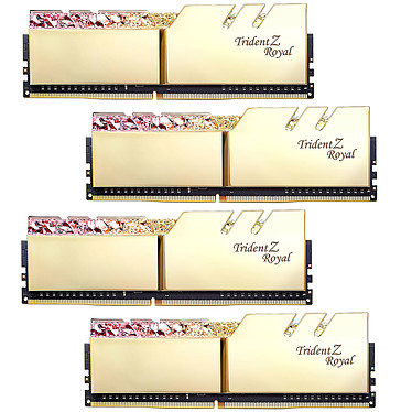 G.Skill Trident Z Royal 32 Go (4 x 8 Go) DDR4 3600 MHz CL18 - Or Kit Quad Channel 4 barrettes de RAM DDR4 PC4-28800 - F4-3600C18Q-32GTRG avec LED RGB