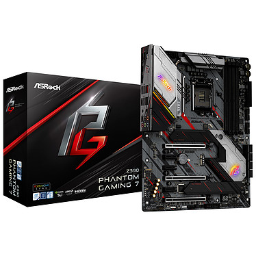 ASRock Z390 Phantom Gaming 7 Carte mère ATX Socket 1151 Intel Z390 Express - 4x DDR4 - SATA 6Gb/s + M.2 - USB 3.1 - 3x PCI-Express 3.0 16x