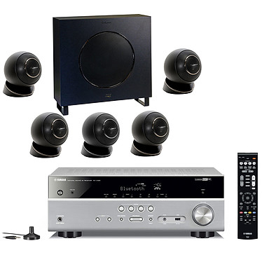 Yamaha RX-V485 Titane + Cabasse Eole 4 Noir Ampli-tuner Home Cinéma 5.1 3D 80 Watts - Dolby TrueHD / DTS-HD Master Audio - 4 x HDMI 2.0 HDCP 2.2 - HDR 10/Dolby Vision/HLG - Bluetooth/Wi-Fi/AirPlay - MusicCast - YPAO + Pack d'enceintes 5.1