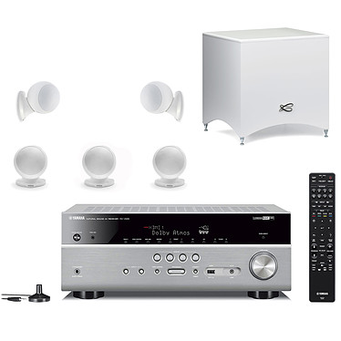 Yamaha RX-V685 Titane + Cabasse Alcyone 2 Pack 5.1 Blanc Ampli-tuner Home Cinéma 7.2 3D 90 W/canal - Dolby Atmos / DTS:X - 5x HDMI 2.0 HDCP 2.2 - HDR 10/Dolby Vision/HLG - Bluetooth/Wi-Fi/AirPlay - MusicCast - Calibration YPAO - Zone 2 + Pack d'enceintes 5.1