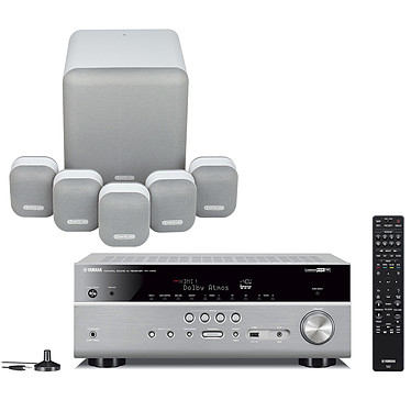 Yamaha RX-V685 Titane + Monitor Audio MASS 5.1 Blanc Ampli-tuner Home Cinéma 7.2 3D 90 W/canal - Dolby Atmos / DTS:X - 5x HDMI 2.0 HDCP 2.2 - HDR 10/Dolby Vision/HLG - Bluetooth/Wi-Fi/AirPlay - MusicCast - Calibration YPAO - Zone 2 + Ensemble 5.1