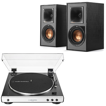 Audio-Technica AT-LP60XBT Blanc + Klipsch R-41PM Platine vinyle à entraînement par courroie 2 vitesses (33-45 trs/min) avec Bluetooth, pré-ampli intégré et port USB + Enceinte bibliothèque active 35 Watts avec Bluetooth intégré (par paire)