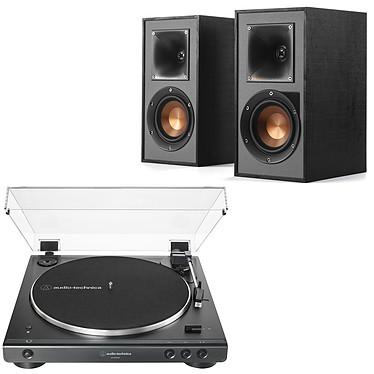 Audio-Technica AT-LP60XBT Noir + Klipsch R-41PM Platine vinyle à entraînement par courroie 2 vitesses (33-45 trs/min) avec Bluetooth, pré-ampli intégré et port USB + Enceinte bibliothèque active 35 Watts avec Bluetooth intégré (par paire)