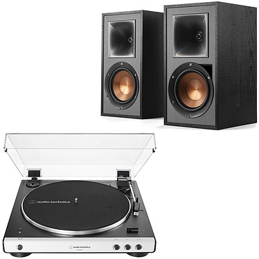 Audio-Technica AT-LP60XBT Blanc + Klipsch R-51PM Platine vinyle à entraînement par courroie 2 vitesses (33-45 trs/min) avec Bluetooth, pré-ampli intégré et port USB + Enceinte bibliothèque active 60 Watts avec Bluetooth intégré (par paire)