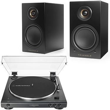 Audio-Technica AT-LP60XBT Noir + Triangle Elara LN01A Noir Platine vinyle à entraînement par courroie 2 vitesses (33-45 trs/min) avec Bluetooth, pré-ampli intégré et port USB + Enceinte sans fil Hi-Fi Bluetooth (par paire)