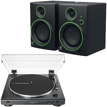 Audio-Technica AT-LP60XBT Noir + Mackie CR4BT Platine vinyle à entraînement par courroie 2 vitesses (33-45 trs/min) avec Bluetooth, pré-ampli intégré et port USB + Enceintes de monitoring 4'' Bluetooth (par paire)