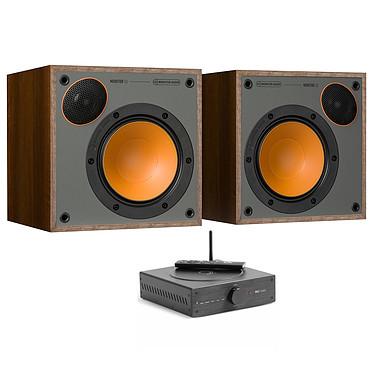 Elipson MC Mini + Monitor Audio Monitor 50 Noyer Amplificateur stéréo 2 x 80 Watts Bluetooth aptX + Enceinte bibliothèque compacte 70W (par paire)