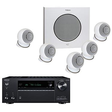 Onkyo TX-NR696 Noir + Cabasse Eole 4 Blanc Ampli-tuner Home Cinéma 7.2 - 165 Watts - THX - Dolby Atmos/DTS:X - Virtualisation Surround - HDMI 4K/60p HDR HDCP 2.2 - Wi-Fi AC/Bluetooth 4.2 - Multiroom - AirPlay 2 - Chromecast + Pack d'enceintes 5.1