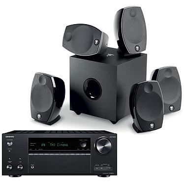 Onkyo TX-NR696 Noir + Focal Sib Evo 5.1 Ampli-tuner Home Cinéma 7.2 - 165 Watts - THX - Dolby Atmos/DTS:X - Virtualisation Surround - HDMI 4K/60p HDR HDCP 2.2 - Wi-Fi AC/Bluetooth 4.2 - Multiroom - AirPlay 2 - Chromecast + Pack d'enceintes 5.1