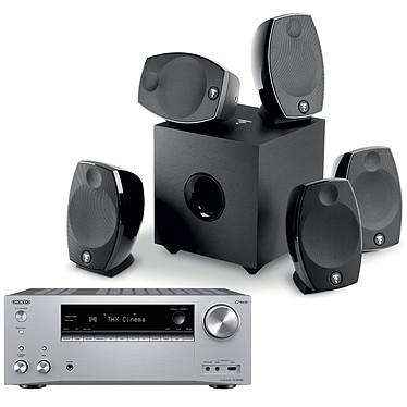 Onkyo TX-NR696 Argent + Focal Sib Evo 5.1 Ampli-tuner Home Cinéma 7.2 - 165 Watts - THX - Dolby Atmos/DTS:X - Virtualisation Surround - HDMI 4K/60p HDR HDCP 2.2 - Wi-Fi AC/Bluetooth 4.2 - Multiroom - AirPlay 2 - Chromecast + Pack d'enceintes 5.1