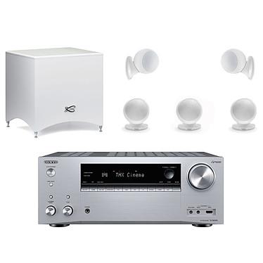 Onkyo TX-NR696 Argent + Cabasse Alcyone 2 Pack 5.1 Blanc Ampli-tuner Home Cinéma 7.2 - 165 Watts - THX - Dolby Atmos/DTS:X - Virtualisation Surround - HDMI 4K/60p HDR HDCP 2.2 - Wi-Fi AC/Bluetooth 4.2 - Multiroom - AirPlay 2 - Chromecast + Pack d'enceintes 5.1