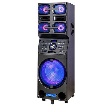 Black Panther City Street Home Sono mobile lumineuse Bluetooth rechargeable, USB, AUX, entrée micro, entrée guitare, Tuner FM, fonction X-BASS, Audio DSP
