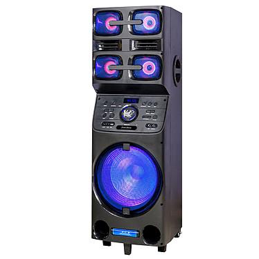 Black Panther City Street Home Sistema de sonido móvil con iluminación Bluetooth recargable, USB, AUX, entrada de micrófono, entrada de guitarra, sintonizador FM, función X-BASS, Audio DSP