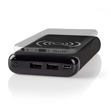 Nedis Qi PowerBank (5 000 mAh) Batterie / chargeur externe autonome (power bank) - capacité 5000 mAh - fonction de recharge sans fil Qi - indicateur de charge LCD - 2 ports USB-A - 1 port micro-USB - compatible smartphone, tablette, console de jeux...
