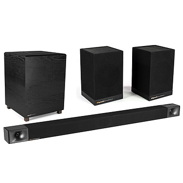 Klipsch BAR 48 + Surround 3 Barre de son 3.1 - 440 Watts - Décodeurs audio Dolby Audio et DTS - Caisson de basses sans fil + Enceintes Surround sans fil 2.0 - 60 Watts