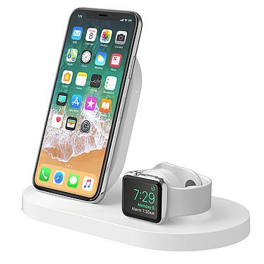 Belkin Station de recharge BOOST UP pour Apple Watch et iPhone (Blanc) Station de rechargement pour appareils Apple - Fonctionnement à induction - Port USB-A - Rechargement de 3 appareils en simultané - Blanc
