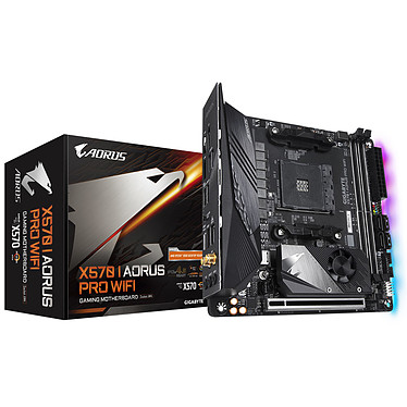 Gigabyte X570 I AORUS PRO WIFI Carte mère mini-ITX Socket AM4 AMD X570 - 2 x DDR4 - SATA 6Gb/s + M.2 - USB 3.1 - 1x PCI-Express 4.0 16x - Wi-Fi AX