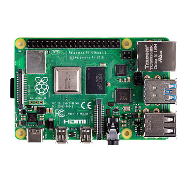Raspberry Pi 4 Model B 1 Go Carte mère ultra-compacte avec processeur ARM Cortex-A72 Quad-Core 1.5 GHz - RAM 1 Go - micro HDMI - USB 3.0 - USB 2.0 - USB-C - Gigabit Ethernet - Wi-Fi - Bluetooth 5.0