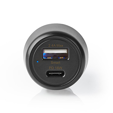 Nedis USB-C Car Charger Noir Chargeur allume-cigare USB-A / USB-C 3.0A Power Delivery 18W (compatible tablette, smartphone, console portable...)