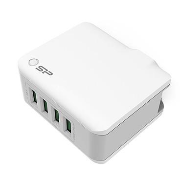Silicon Power Chageur USB 4 ports WC104P Chargeur USB 4 ports avec adaptateurs fournis - Prise pliable - Blanc