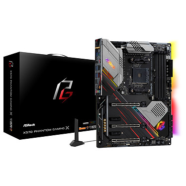 ASRock X570 Phantom Gaming X Carte mère ATX Socket AM4 AMD X570 - 4x DDR4 - SATA 6Gb/s + M.2 - USB 3.1 - 3x PCI-Express 4.0 16x - 2.5 GbE - Wi-Fi AX