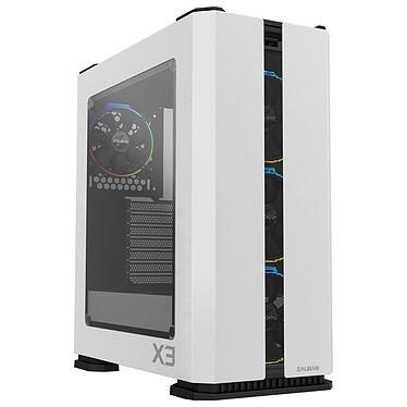 Zalman X3 Blanco Caja de torre mediana negra con ventana de vidrio templado y retroiluminación RGB