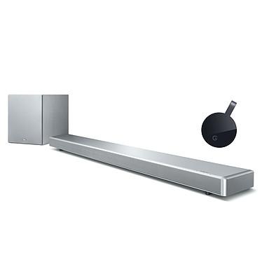 Yamaha MusicCast YSP-2700 Argent + Google Chromecast Ultra Barre de son multiroom 7.1 avec caisson de basses sans fil, HDMI 2.0 transmission 4K et Bluetooth avec MusicCast + Appareil Multimédia de diffusion de contenus 4K Ultra HD et HDR sur port HDMI