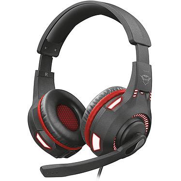 Trust Gaming GXT 407 Ravu Casque-micro gamer - circum-aural fermé - son stéréo - microphone repliable - Jack 3.5mm/USB - rétro-éclairage rouge